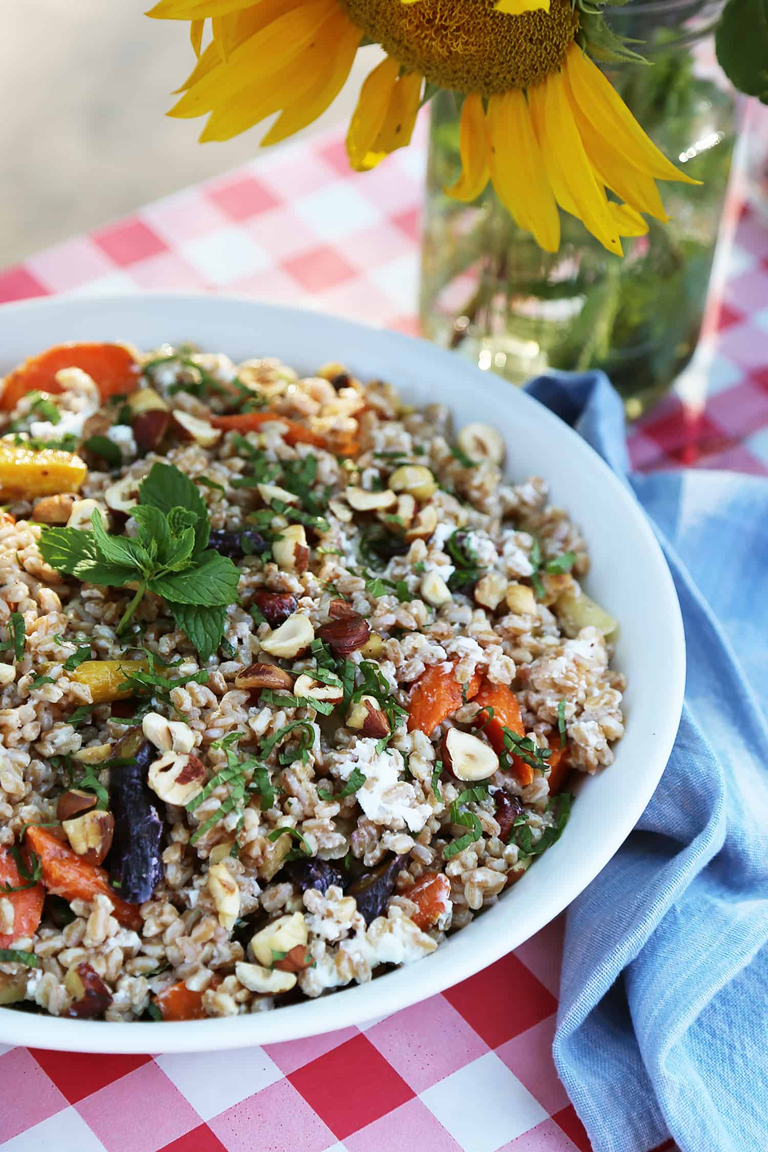 Farro with Roasted Carrots, Hazelnuts & Goat Cheese Recipe by Tiffani Thiessen