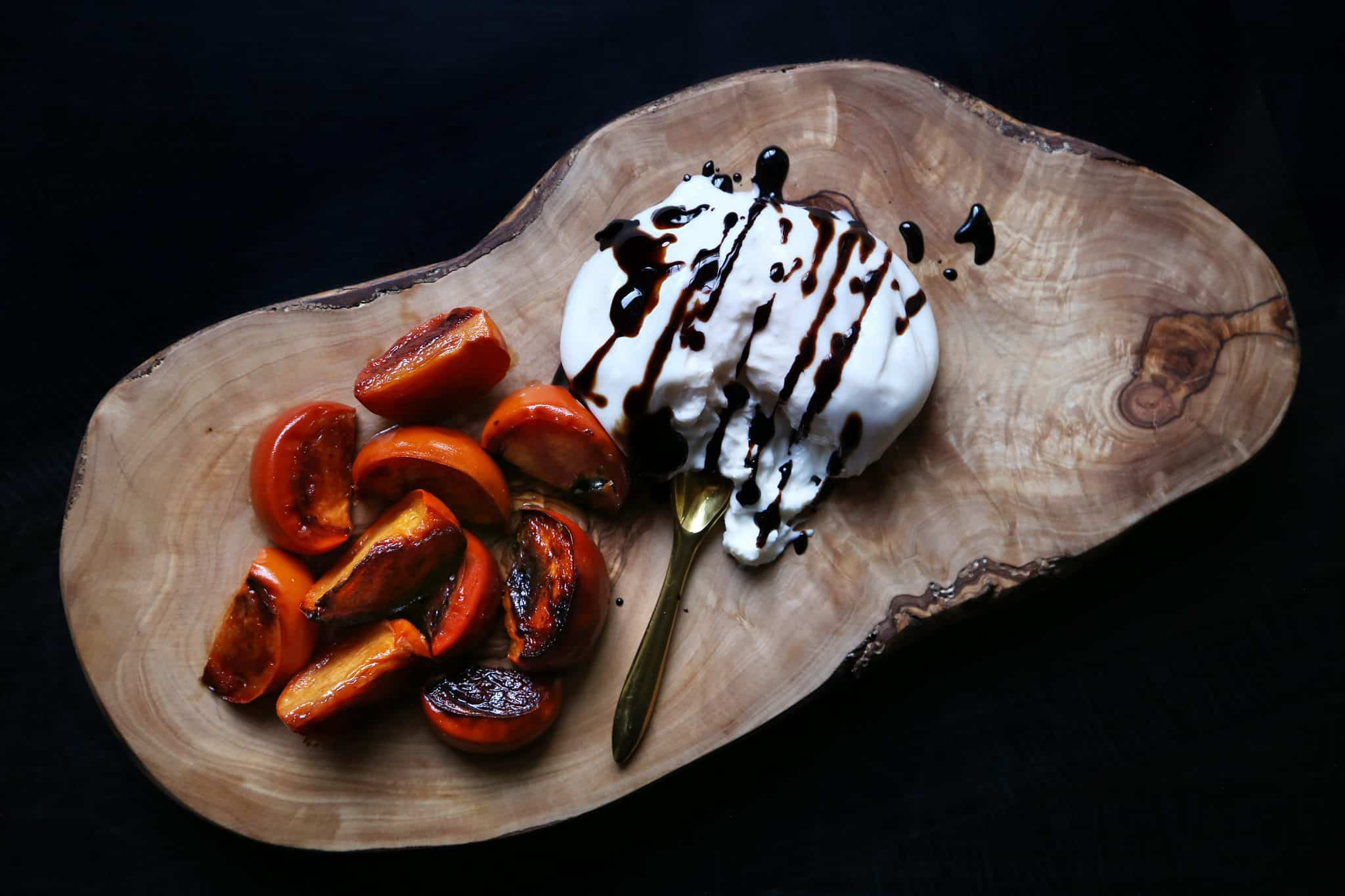 Roasted Persimmons and Burrata Recipe by Tiffani Thiessen